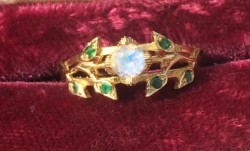 Custom 18k yellow gold moonstone emerald ring