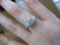 Rose Gold Three Stone Moissanite and Diamond Ring