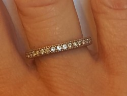 3/4 eternity shared prong/moissanite /palladium