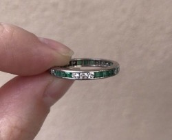18KWG Square Emerald & Round Diamond Eternity Sz 7