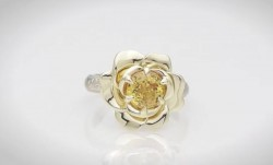 David Klass Yellow Sapphire Rose Ring 14kt