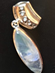 (925) Elongated Rainbow Moonstone w/ Bail