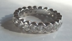 2.2 CTW 14K White Gold Bezel Eternity Band Size 7