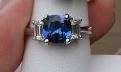 14k 8mm Sapphire Cushion & Trapezoid 3 Stone Ring