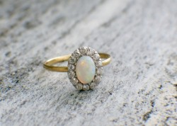 18K Gold Opal & European Cut Diamond Halo Ring