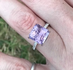 10k WG and Rose de France Amethyst Stone/Setting