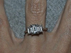 3 Stone Emerald Cut Moissanite Ring