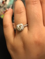 Forever brilliant halo cushion cut moissanite ring