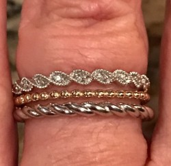 2 stacking bands - 14KT White Gold and Yellow Gold