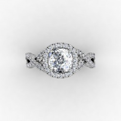 Cushion Cut Halo Moissanite Engagement Ring