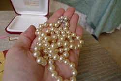 "8mm 27"" Vintage Majorica Imitation Pearl Necklace"