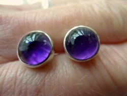 Sterling Silver Bezel Set Amethyst Earrings