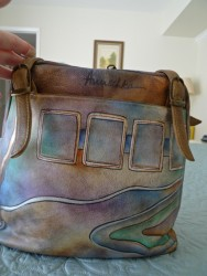 Beautiful painted leather Anuschka handbag