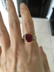 Lab Ruby Diamond Ring