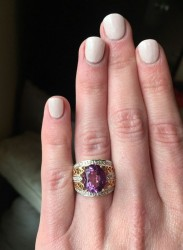 JCR Amethyst and 14KT Gold Ring