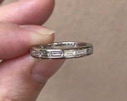 Precision Set Platinum Baguette Diamond Band Sz 6
