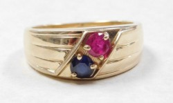 Vintage 14kt YG Ruby & Sapphire Ring