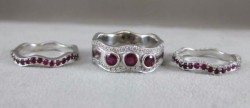 Platinum Diamond Ruby 3 Ring Eternity Set~4.52cwt
